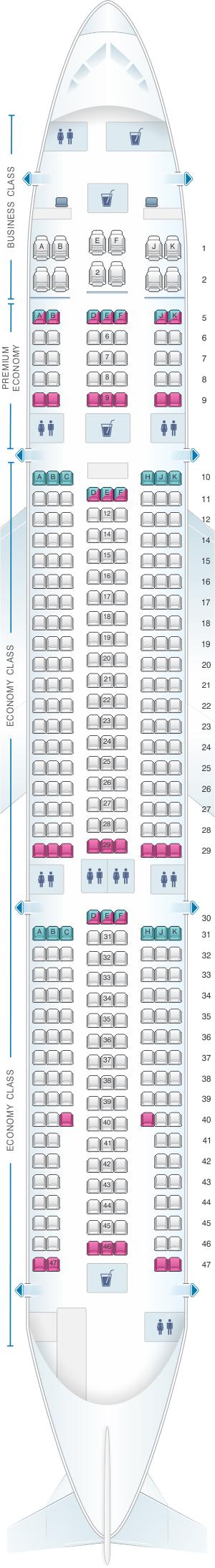 Seat map for Air Caraibes Airbus A330 300 354PAX