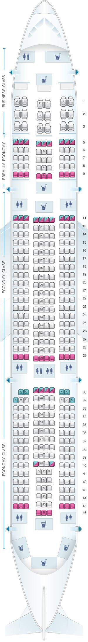 Seat map for Air Caraibes Airbus A350 900
