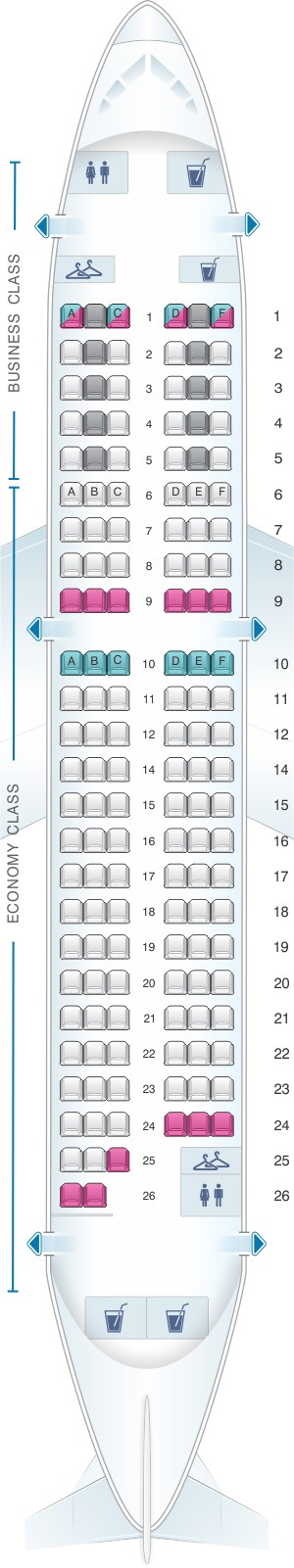 Seat map for Air France Airbus A319 Europe V2