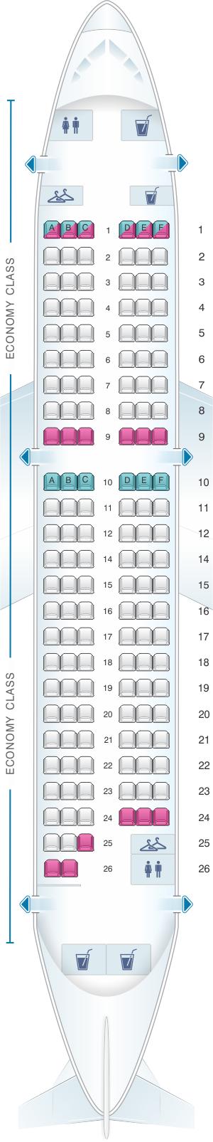 Seat map for Air France Airbus A319 Metropolitan V2
