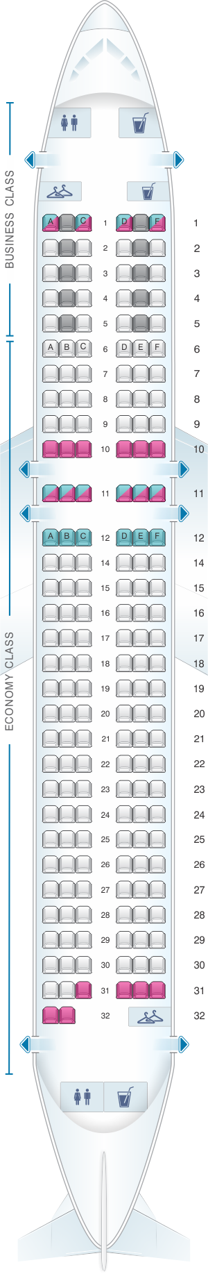 Seat map for Air France Airbus A320 Europe V2