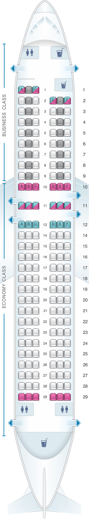 Seat map for Air France Airbus A320 Europe V3