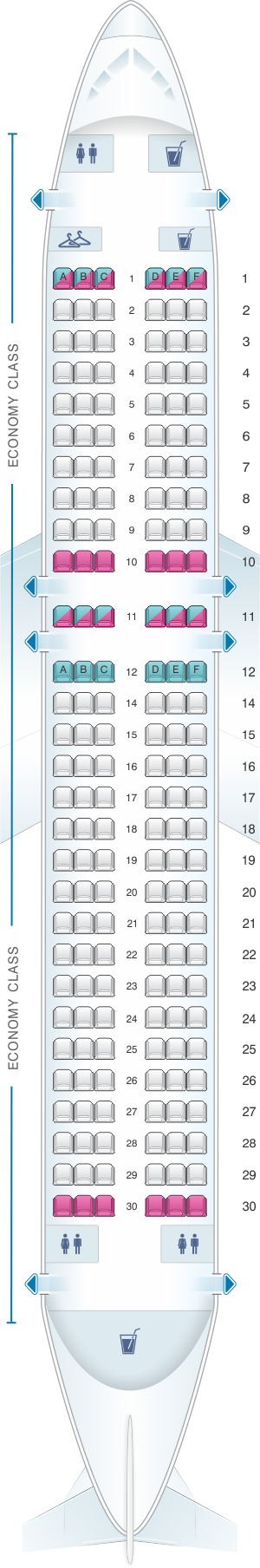 Seat map for Air France Airbus A320 Metropolitan V2