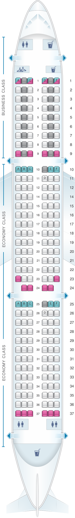 Seat map for Air France Airbus A321 Europe V2