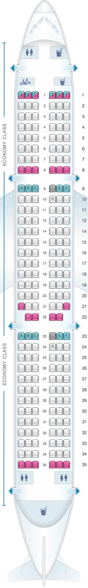 Seat map for Air France Airbus A321 Metropolitan V1