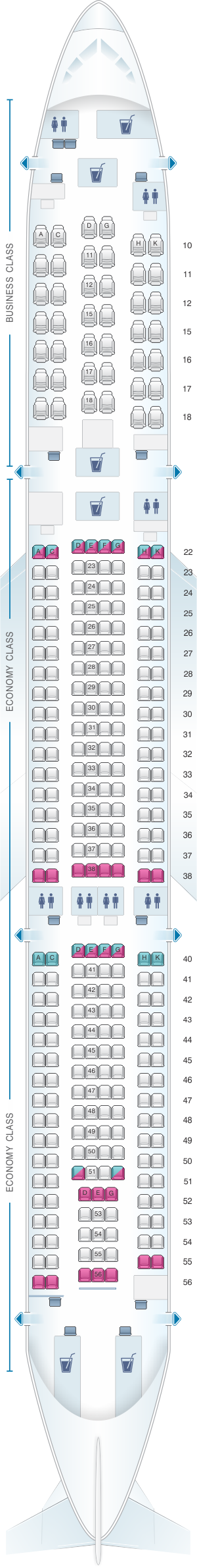 Seat map for Cathay Pacific Airways Cathay Dragon Airbus A330 300 (A33C)