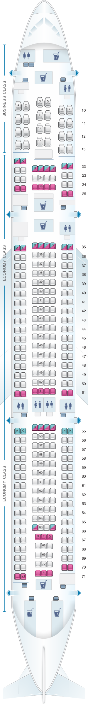 Seat map for Cathay Pacific Airways Cathay Dragon Airbus A330 300 (A33H)