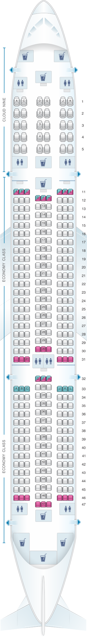 Seat map for Ethiopian Airbus A350 900