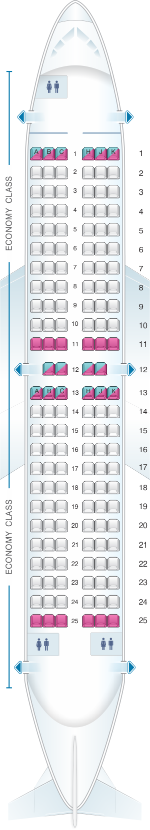 Seat map for Air Transat Boeing 737-700 US and South