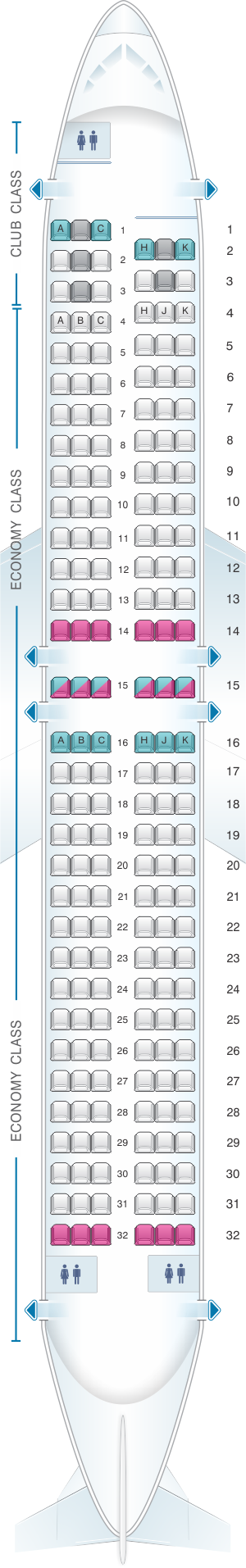 Seat map for Air Transat Boeing 737-800 Canada