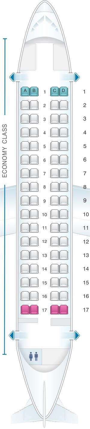 Seat map for Finnair ATR 72-212A Config.1