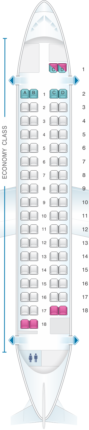 Seat map for Finnair ATR 72-212A Config.2
