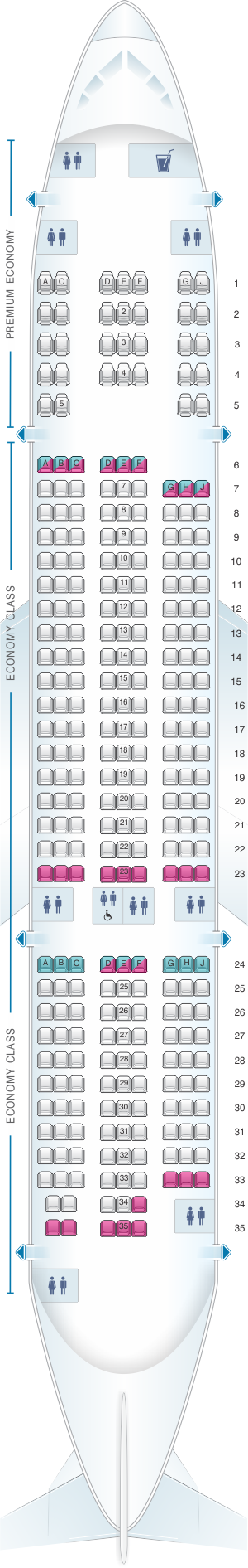 Seat map for Norwegian Boeing B787 8