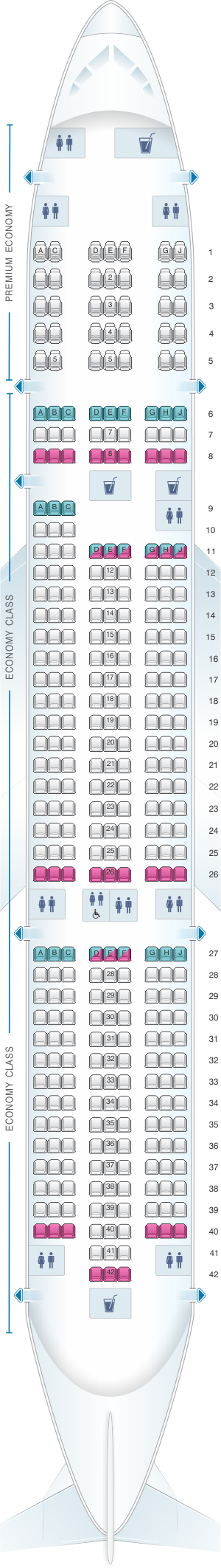 Seat map for Norwegian Boeing B787 9