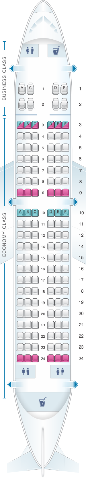 Seat map for Ural Airlines Airbus A319