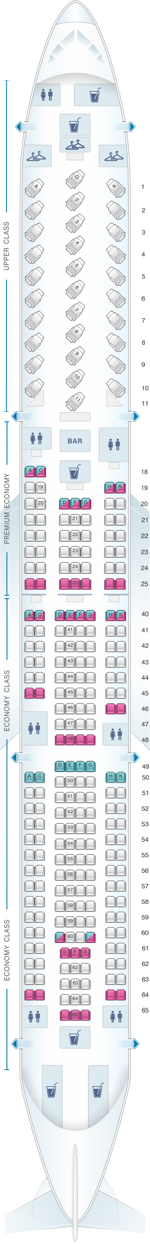 Seat map for Virgin Atlantic Airbus A330 300 re-fitted