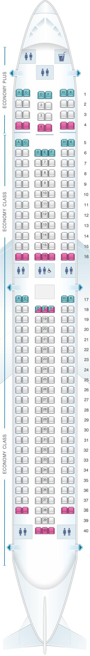 Seat map for WestJet Boeing B767 300