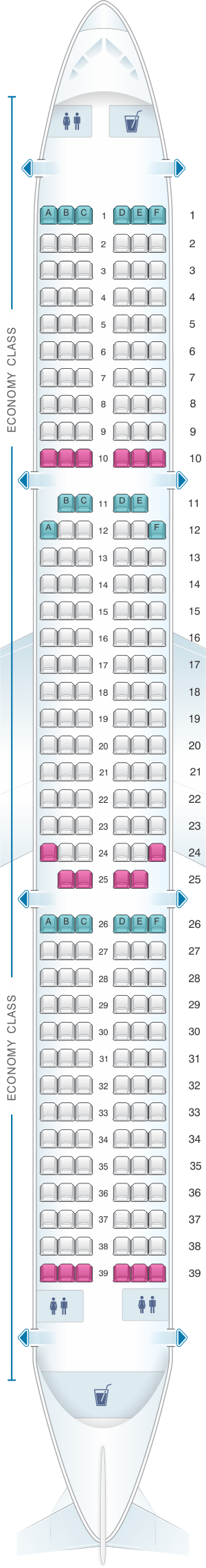 Seat map for Wizz Air Airbus A321