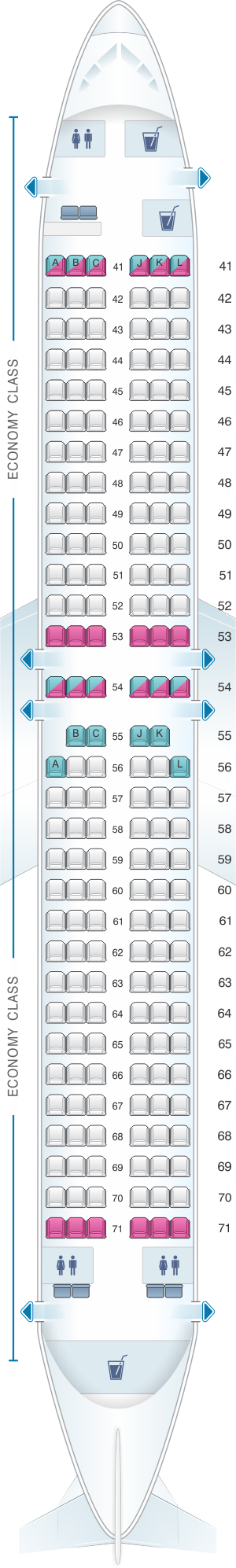 Seat map for Xiamen Airlines Boeing B737 800 184pax