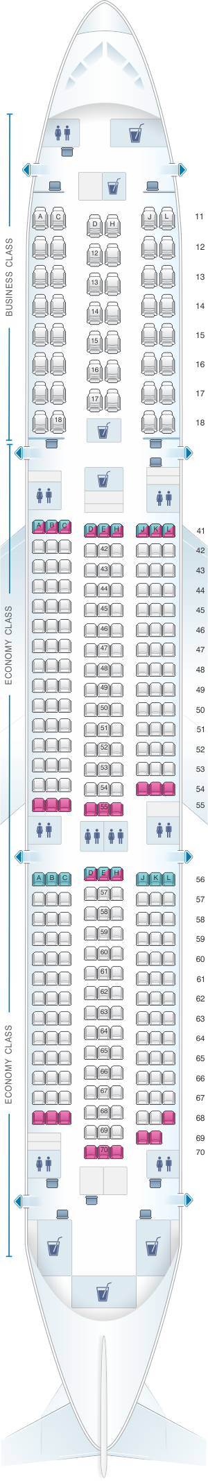 Seat map for Xiamen Airlines Boeing B787-9