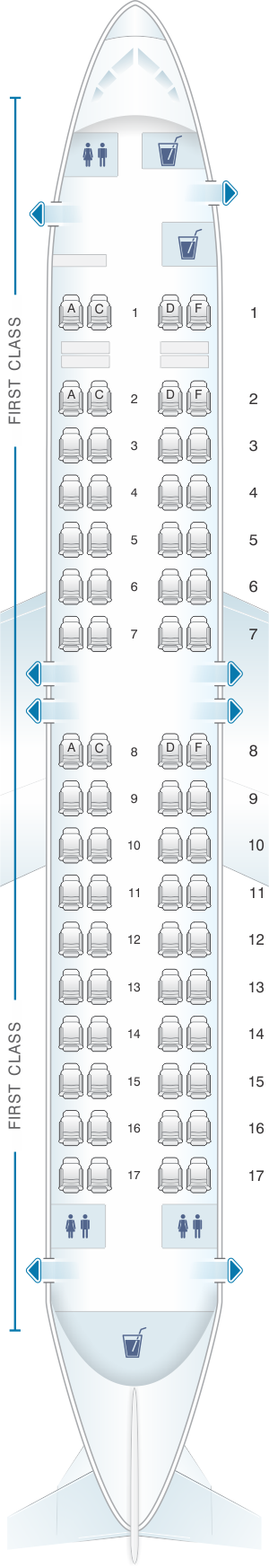 Seat map for Xtra Airways Boeing B737 400 68pax
