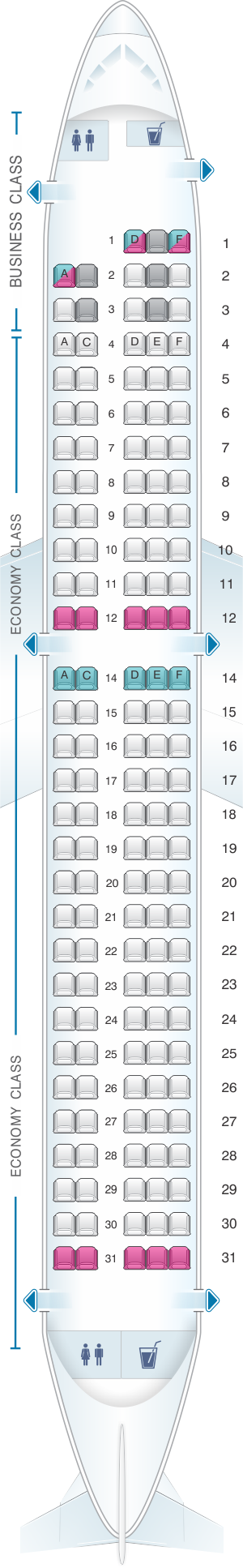 Seat map for airBaltic Airbus A220 300