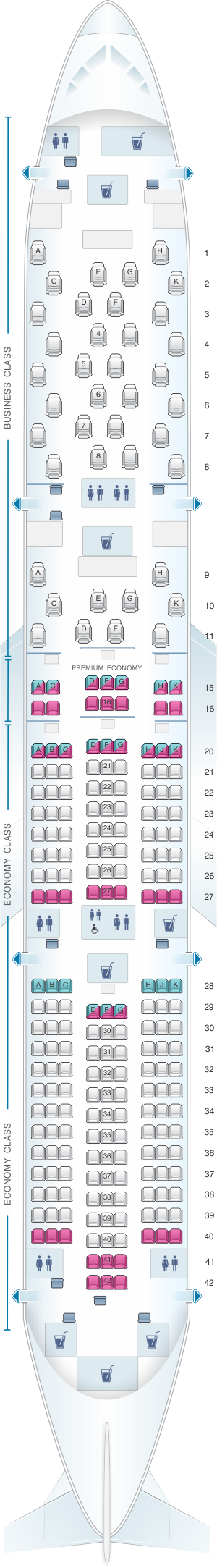 Seat map for ANA - All Nippon Airways Boeing B787-9 246pax