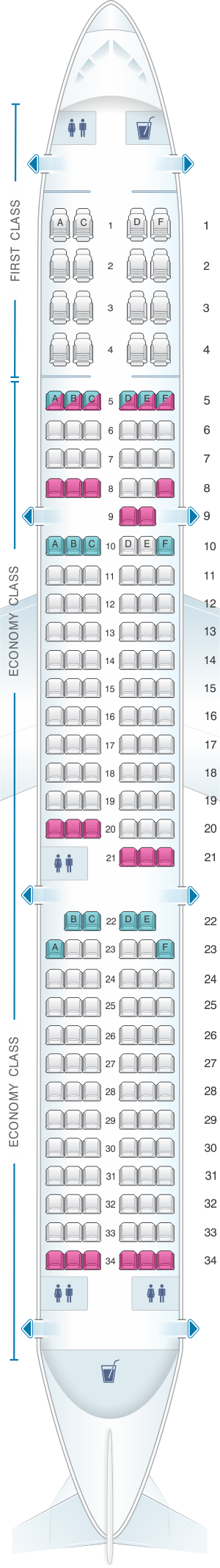Seat map for American Airlines Airbus A321 187pax