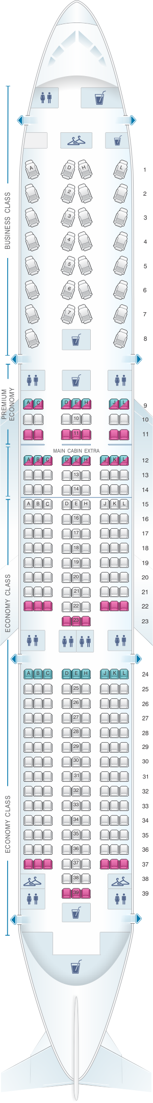 Seat map for American Airlines Boeing B787 9