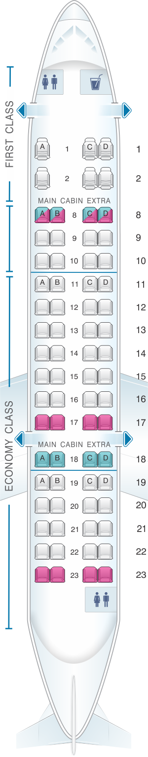 Seat map for American Airlines CRJ 700 V2