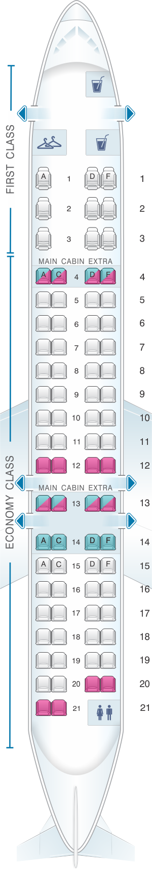 Seat map for American Airlines CRJ 900 V3