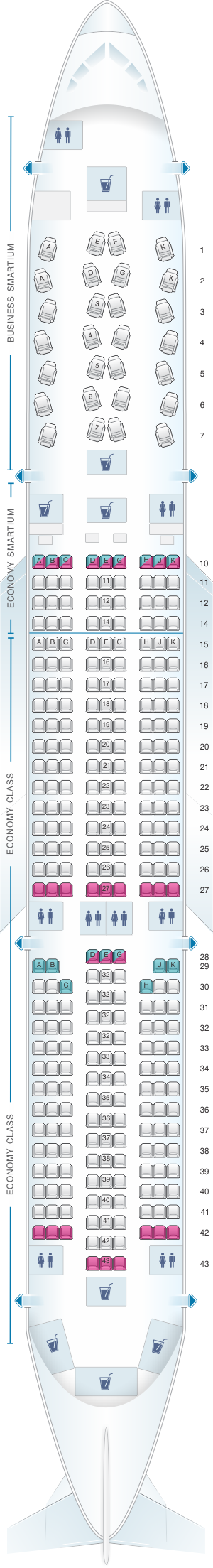 Seat map for Asiana Airlines Airbus A350 900