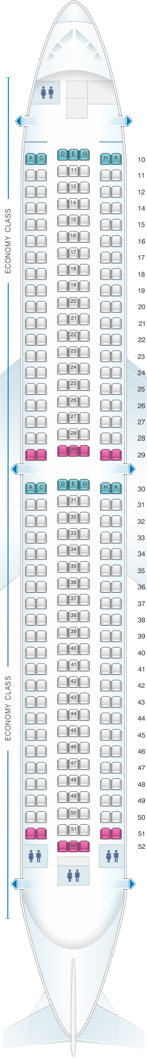 Seat map for Asiana Airlines Boeing B767 300 290PAX