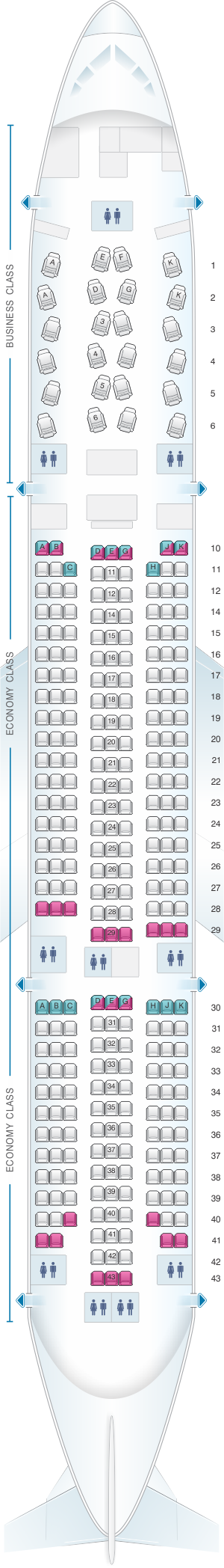 Seat map for Asiana Airlines Boeing B777 200ER 302PAX