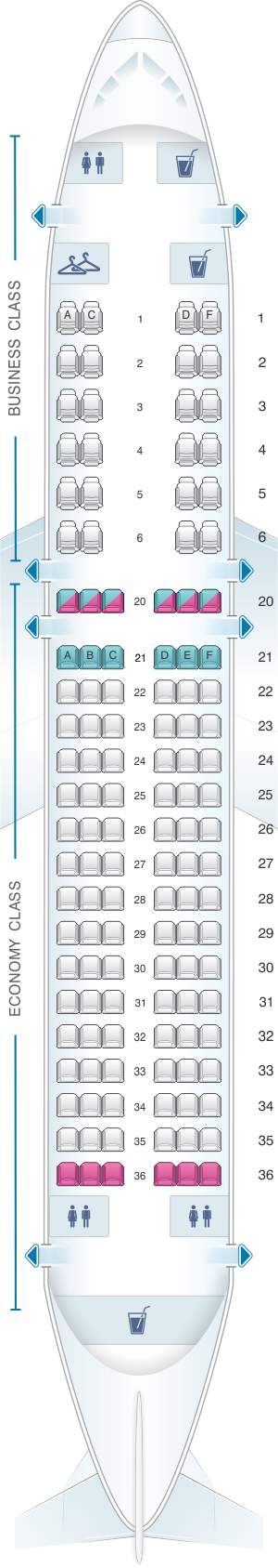 Seat map for MEA Airbus A320 200