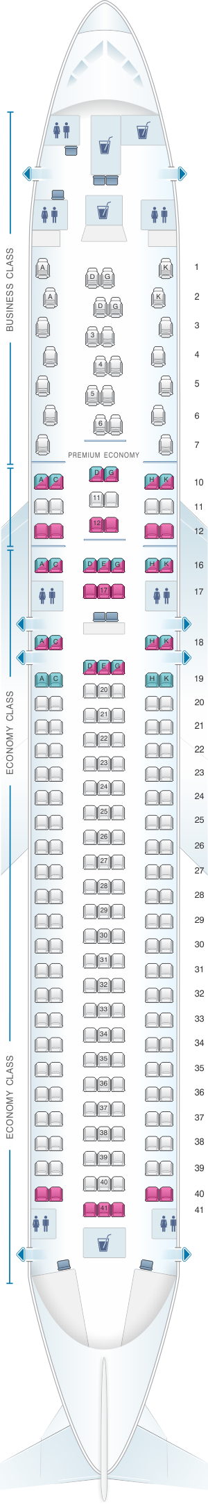 Seat map for Austrian Airlines Boeing B767 300ER V3