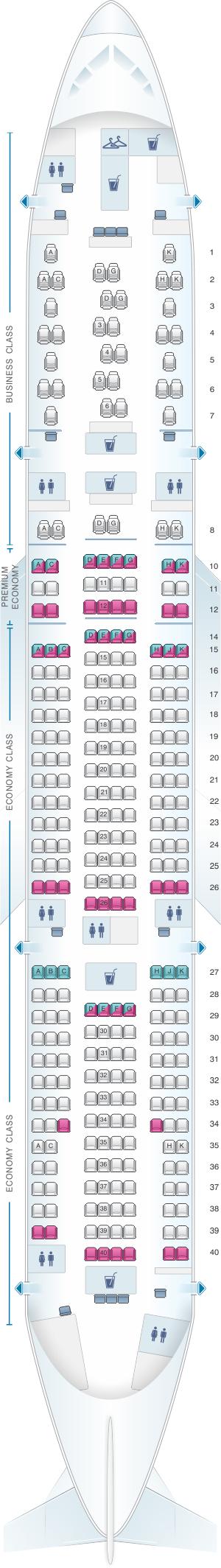 Seat map for Austrian Airlines Boeing B777 200ER V2