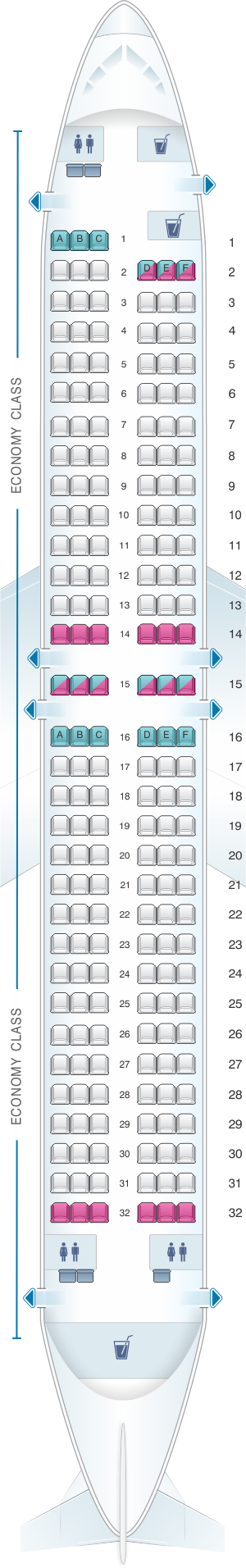 Seat map for Blue Panorama Boeing B737 800