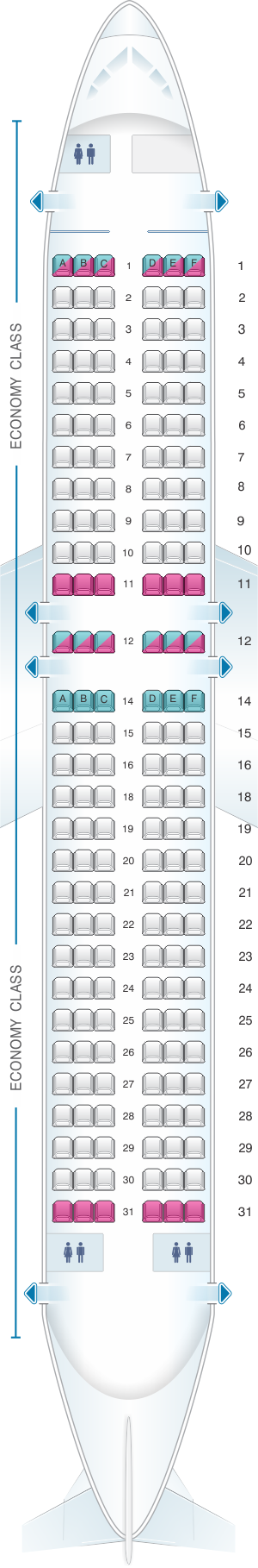 Seat map for Bulgaria Air Airbus A320 all economy