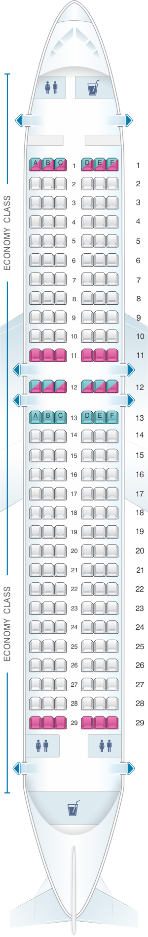 Seat map for Bulgarian Air Charter Airbus A320