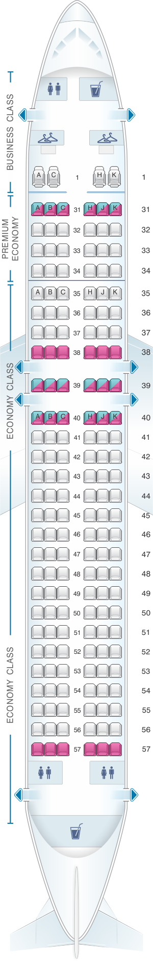 Seat map for China Southern Airlines Airbus A32E