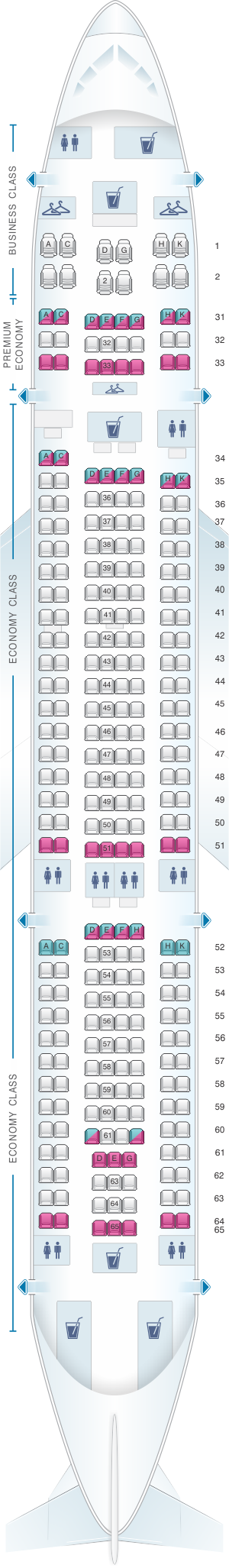 Seat map for China Southern Airlines Airbus A33G
