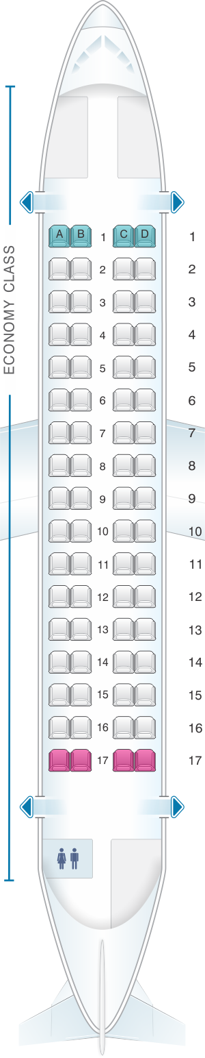 Seat map for Darwin Airline ATR 72 500