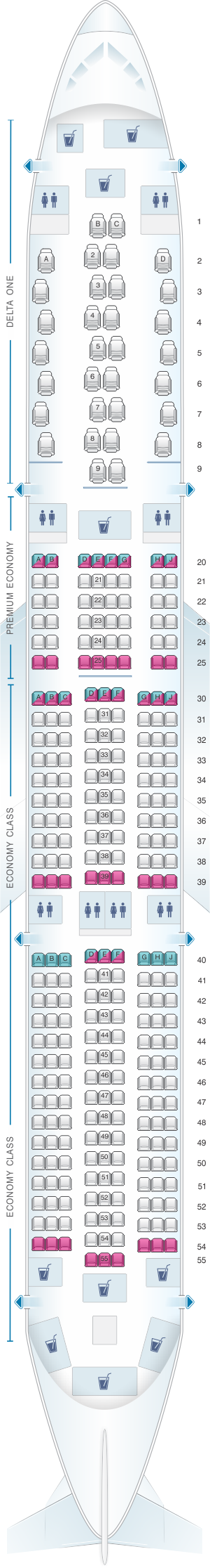 Seat map for Delta Air Lines Airbus A350 900