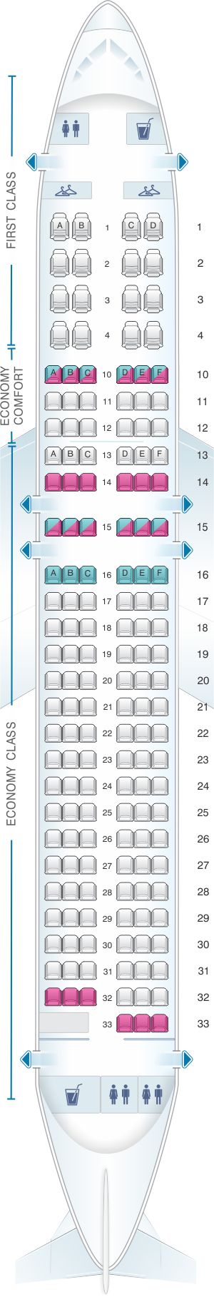 Seat map for Delta Air Lines Airbus A320 200 (32M)