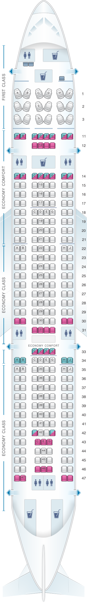 Seat map for Hawaiian Airlines Airbus A330 200 retrofitted