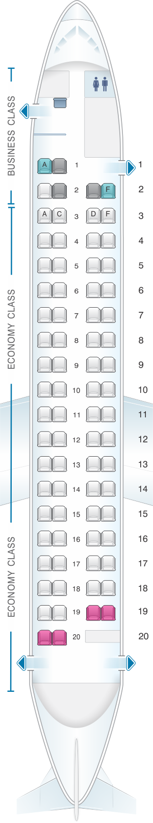 Seat map for Eurowings Bombardier Q400