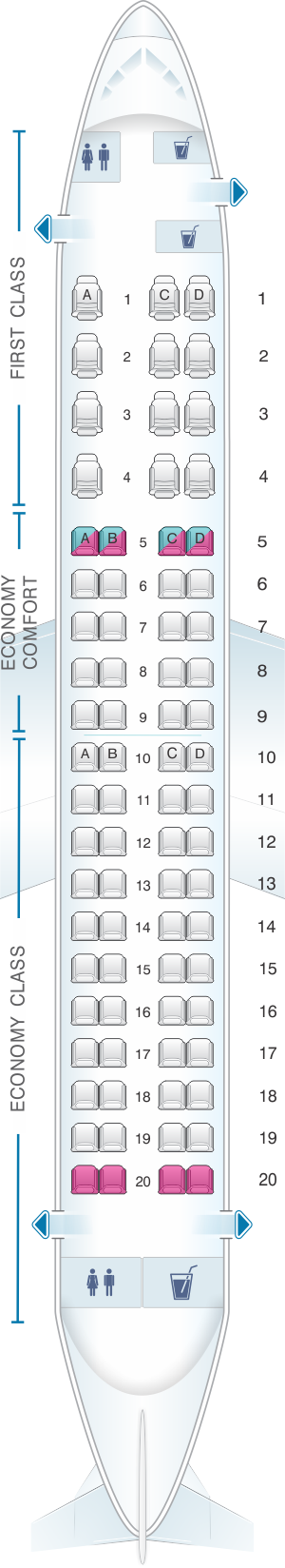 Seat map for Delta Air Lines Embraer E175 Compass