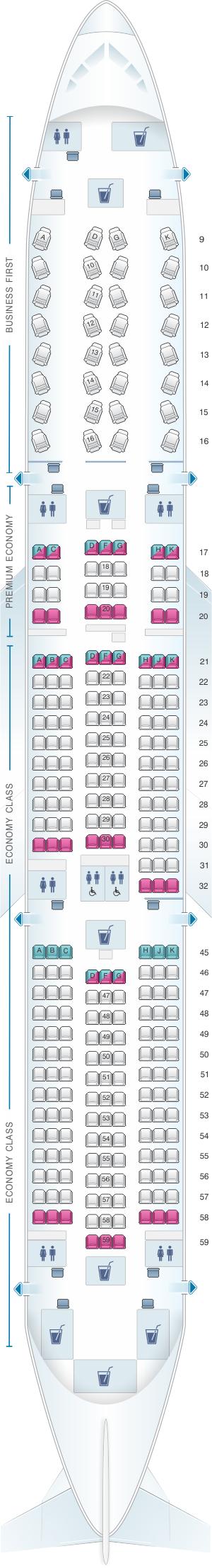 Seat map for El Al Israel Airlines Boeing B787 9