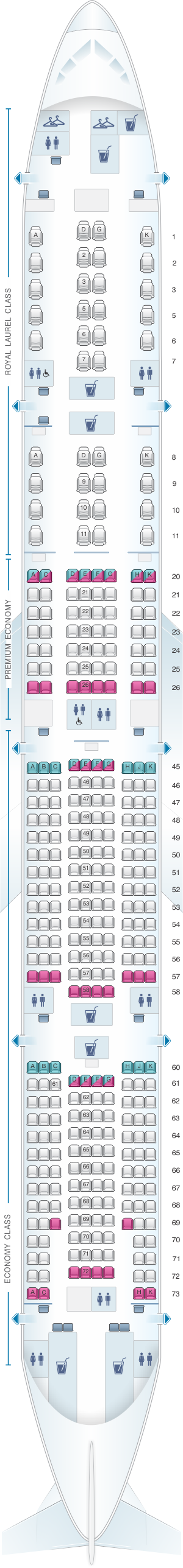 Seat map for EVA Air Boeing B777 300ER 353PAX